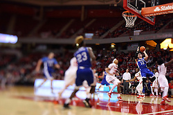 26 January 2016: Reed Timmer(12) lays it up during the Illinois State Redbirds v Drake Bulldogs at Redbird Arena in Normal Illinois (Photo by Alan Look)