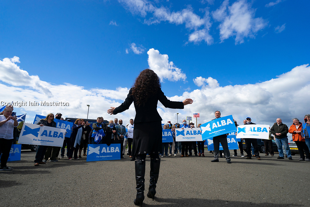 Falkirk, Scotland, UK. 30 April 2021. Leader of the pro Scottish nationalist Alba Party , Alex Salmond, campaigns with party supporters at the Falkirk Wheel ahead of Scottish elections on May 6th. Pic; Tasmina Ahmed-Sheikh addresses supporters.  Iain Masterton/Alamy Live News