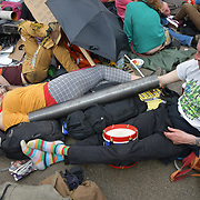 Activists demotration and camping in the middle of Oxford Street demand the UK govt to act on climate change or we will be camping as long as until we get our demand. As a journalist is it a threat or blackmail the UK govt. If the UK govt give in or surrender to their demand doesnt makes the govt weak? on 17 April 2019, London, UK.