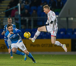 St Johnstone's Paul Paton and Ross County's Michael Gardyne. St Johnstone 2 v 4 Ross County. SPFL Ladbrokes Premiership game played 19/11/2016 at St Johnstone's home ground, McDiarmid Park.
