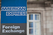 Sign for American Express Foreign Exchange store.