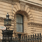 Downing Street Sign And Window - London, UK