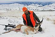 Late season Wyoming antelope hunt in the snow.