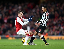 16 December 2017 London : Premier League Football : Arsenal v Newcastle United : Granit Xhaka of Arsenal and Isaac Hayden of Newcastle.<br /> (photo by Mark Leech)