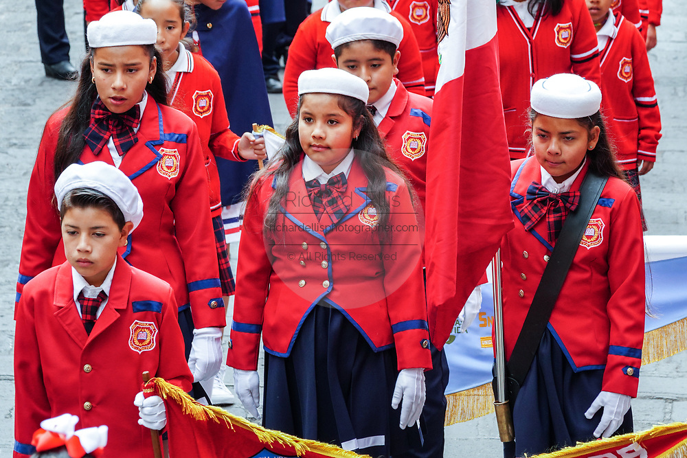Young school girls take part in a parade to celebrate the 251st birthday of the Mexican Independence hero Ignacio Allende January 21, 2020 in San Miguel de Allende, Guanajuato, Mexico. Allende, from a wealthy family in San Miguel played a major role in the independency war against Spain in 1810 and later honored by his home city by adding his name.