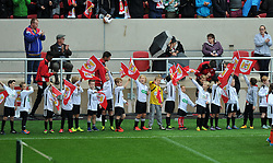 Junior players from Portishead Town FC wave flags at Ashton Gate Stadium - Mandatory by-line: Paul Knight/JMP - 01/10/2016 - FOOTBALL - Ashton Gate Stadium - Bristol, England - Bristol City v Nottingham Forest - Sky Bet Championship