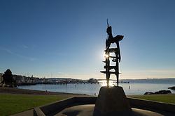 "United States, Washington, Kirkland, ""Centennial Fountain"" Public Art in Marina Park"