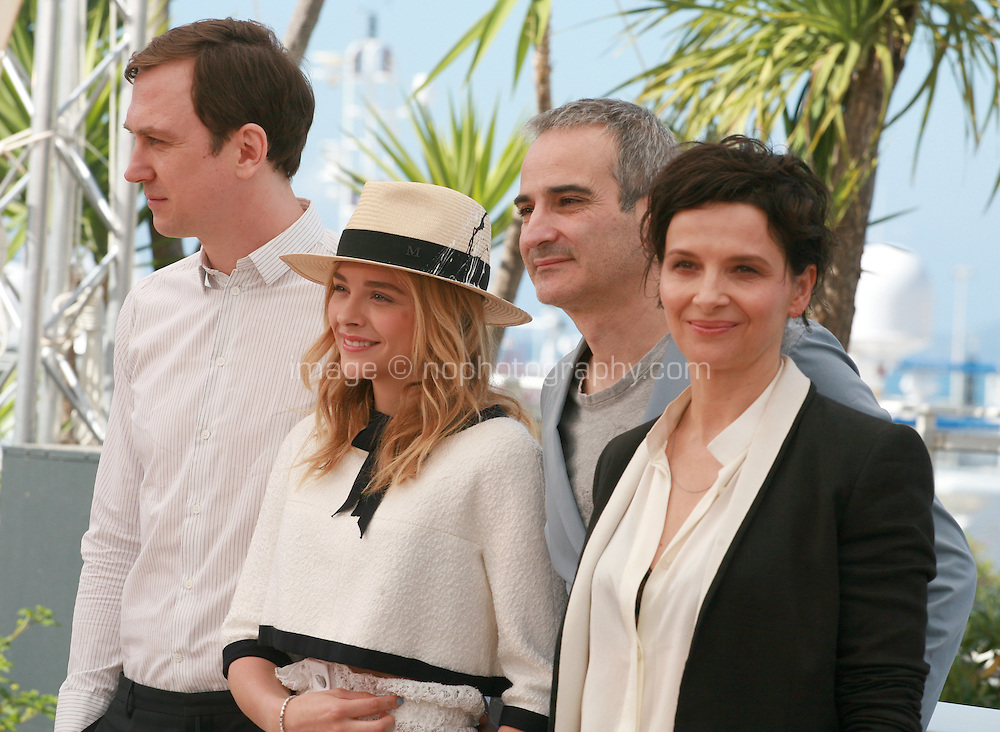 Actor Lars Eidinger, Actress Chloé Grace Moretz, Director Olivier Assayas, Actress Juliette Binoche at the photo call for the film Sils Maria at the 67th Cannes Film Festival, Friday 23rd May 2014, Cannes, France.