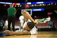 21 MAR 2015: Lewis Sullivan (35) of the University of Alabama - Birmingham warms up for the game against the University of California - Los Angeles during the 2015 NCAA Men's Basketball Tournament held at the KFC Yum! Center in Louisville, KY. UCLA defeated UAB 92-75. Brett Wilhelm/NCAA Photos