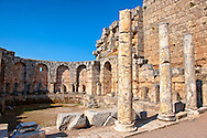 Roman Southern baths of Perge (Perga) archaeological site, Turkey .<br /> <br /> If you prefer to buy from our ALAMY PHOTO LIBRARY  Collection visit : https://www.alamy.com/portfolio/paul-williams-funkystock/perge-archaeological-site-turkey.html<br /> <br /> Visit our CLASSICAL WORLD HISTORIC SITES PHOTO COLLECTIONS for more photos to download or buy as wall art prints https://funkystock.photoshelter.com/gallery-collection/Classical-Era-Historic-Sites-Archaeological-Sites-Pictures-Images/C0000g4bSGiDL9rw