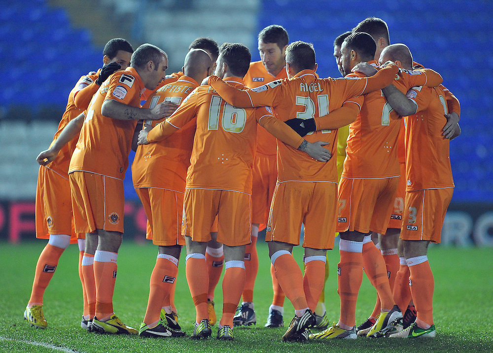 Blackpool players have a huddle before the kick off..Football - npower Football League Championship - Birmingham City v Blackpool - Tuesday 05th March 2013 - St Andrews - Birmingham..© CameraSport - 43 Linden Ave. Countesthorpe. Leicester. England. LE8 5PG - Tel: +44 (0) 116 277 4147 - admin@camerasport.com - www.camerasport.com