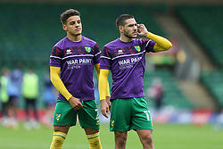 Emi Buendia and Max Aarons of Norwich City during the warmup  - Mandatory by-line: Arron Gent/JMP - 24/10/2020 - FOOTBALL - Carrow Road - Norwich, England - Norwich City v Wycombe Wanderers - Sky Bet Championship