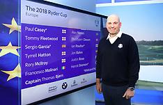 Team Europe Ryder Cup Wildcard Announcement - 05 Sept 2018