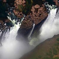 Africa, Zimbabwe, Victoria Falls. Victoria Falls forming the border between Zambia and Zimbabwe, by air.