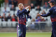 Lancashires Matthew Parkinson celebrates a wicket during the Royal London 1 Day Cup match between Lancashire County Cricket Club and Derbyshire County Cricket Club at the Emirates, Old Trafford, Manchester, United Kingdom on 2 May 2019.