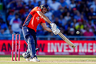 England T20 all rounder David Willey plays the last ball of the innings during the International T20 match between England and India at Old Trafford, Manchester, England on 3 July 2018. Picture by Simon Davies.