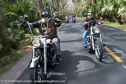 WIllie Jones of Tropical Tattoo (L) and Shaun Ponce riding through Tomoka State Park during Daytona Bike Week 75th Anniversary event. FL, USA. Thursday March 3, 2016.  Photography ©2016 Michael Lichter.