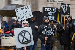 London, UK. 14 October, 2019. Climate activists from Extinction Rebellion protest outside the Bank of England on the eighth day of International Rebellion protests.