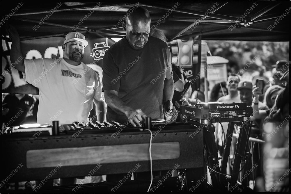 NEWARK, NEW JERSEY: DJ Tony Humphry, on the one's and two's during his set at the weekly Block Party on Edison Plaice in Newark, NJ on Friday, July 30, 2021 (Brian B Price/TheFotodesk).