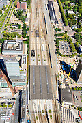 Nederland, Noord-Brabant, Eindhoven, 23-08-2016; station Eindhoven met directe omgeving. Overkappong en perons.<br /> Downtown area with central station and immediate environment.<br /> luchtfoto (toeslag op standard tarieven);<br /> aerial photo (additional fee required);<br /> copyright foto/photo Siebe Swart