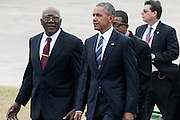 HAVANA, March 20, 2016 <br /> <br /> President Obama Visits Cuba<br /> <br /> Vice President of the Council of State of Cuba, Salvador Valdes Mesa (1st, L) and U.S. President Barack Obama (front), walk towards Palace of the Revolution to hold official talks with Cuban President Raul Castro, in Havana, capital of Cuba, on March 21, 2016. Obama on Monday paid tribute to Cuban national hero Jose Marti before meeting with Cuban President Raul Castro in Havana.<br /> ©Exclusivepix Media