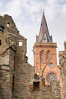 Saint Magnus Cathedral from the ruins of the Bishop's Palace, Kirkwall Orkney Islands Scotland
