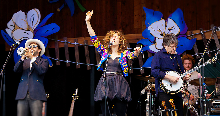 Abigail Washburn and Bela Fleck performing at the Telluride Bluegrass Festival.