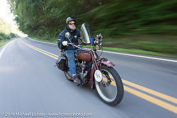 Rich Rau of Oregon on his 1916 Indian during the Motorcycle Cannonball Race of the Century. Stage-2 from York, PA to Morgantown, WV. USA. Sunday September 11, 2016. Photography ©2016 Michael Lichter.
