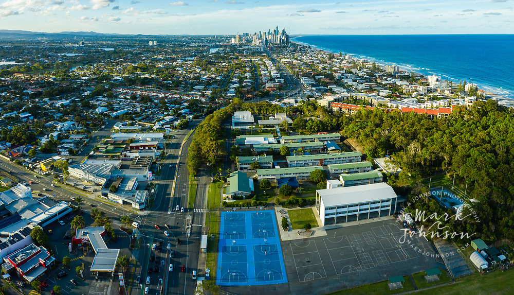 Panoramic aerial view of basketball courts, Surfers Paradise skyline in the distance,  Miami Beach, Gold Coast, Queensland, Australia