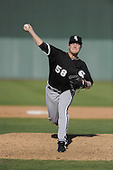 TEMPE, AZ - MARCH 4:  Lucas Harrell #58 of the Chicago White Sox pitches against the Los Angeles Angels on March 4, 2010 at Tempe Diablo Stadium in Tempe, Arizona. (Photo by Ron Vesely)