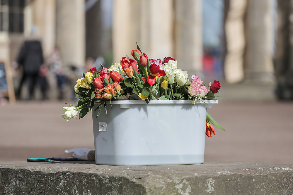 13th, March, 2021. Cheltenham. A box of flowers at the flower laying event for Sarah Everard.