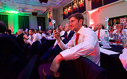 CARDIFF, WALES - Wednesday, June 1, 2016: Wales' Ben Davies during a Q&A at a charity send-off gala dinner at the Vale Resort Hotel ahead of the UEFA Euro 2016. (Pic by David Rawcliffe/Propaganda)