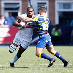 Pau's Watisoni Votu is tackled by Cardiff Blues' Jarrod Evans<br /> <br /> Photographer Simon King/Replay Images<br /> <br /> European Rugby Challenge Cup - Semi Final - Cardiff Blues v Pau - Saturday 21st April 2018 - Cardiff Arms Park - Cardiff<br /> <br /> World Copyright © Replay Images . All rights reserved. info@replayimages.co.uk - http://replayimages.co.uk