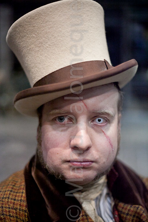 © London News Pictures. 11/02/12. Lee Thomas portrays his Victorian character of ex-convict at Dickens World, Chatham, Kent. Players from The Seven Dials Rapscallions re-enact life in Victorian London in celebration of Dickens' 200th birthday at Dickens World, Chatham, Kent.  Picture credit should read Manu Palomeque/LNP