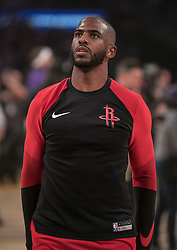 October 20, 2018 - Los Angeles, California, U.S - Chris Paul #3 of the Houston Rockets during warmups prior to their NBA game with the Los Angeles Lakers on Saturday October 20, 2018 at the Staples Center in Los Angeles, California. Rondo and Paul were ejected. Paul was ejected in the 4th quarter. (Credit Image: © Prensa Internacional via ZUMA Wire)