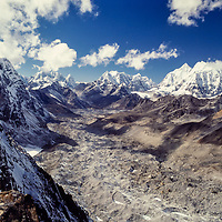 Changri La Pass, Khumbu, Nepal.  Gokyo Valley and Mt. Everest in the background.