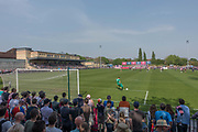 The last home game of the season for Dulwich Hamlet Football Club against Woking, who are currently second place in the league, on the 22nd April 2019 in London in the United Kingdom. After a turbulent season, Dulwich Hamlet lost 3 - 1 to Woking, but have secured another season in the National League South.