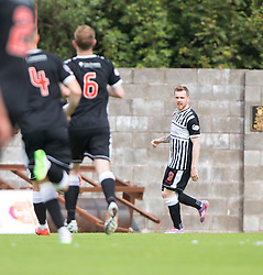 Elgin City's Craig Gunn (9) cele scoring their goal. <br /> Half time : East Fife 1 v 1 Elgin City, Ladbrokes Scottish Football League Division Two game played 22/8/2015 at East Fife's home ground, Bayview Stadium.