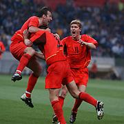 l-r; Belgium's Marc Wilmots and Gert Verheyen celebrate with equalising goalscorer Peter Van Der Heyden
