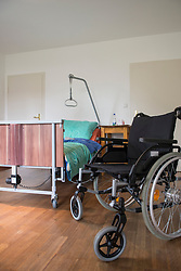 Room with nursing bed and wheelchair, Altoetting, Bavaria, Germany, Europe