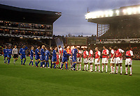 The two teams shake hands before kick off. Arsenal v Chelsea. UEFA Champions League 1/4 Final 2nd leg @ Highbury. Credit : Andrew Cowie, Digitalsport