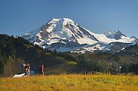 Hikers on Skyline Divide, Mount Baker Wilderness, North Cascades Washington