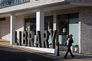The lettering outside Southwarks newest library, near East Dulwich station, on 10th February 2019, in London, England.