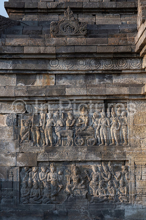 Borobudur Temple on the 24th October 2019 in Java in Indonesia. Borobudur is a 9th-century Mahayana Buddhist temple in Magelang Regency. It's the worlds largest Buddhist temple, consisting of nine stacked platforms, six square and three circular, topped by a central dome.