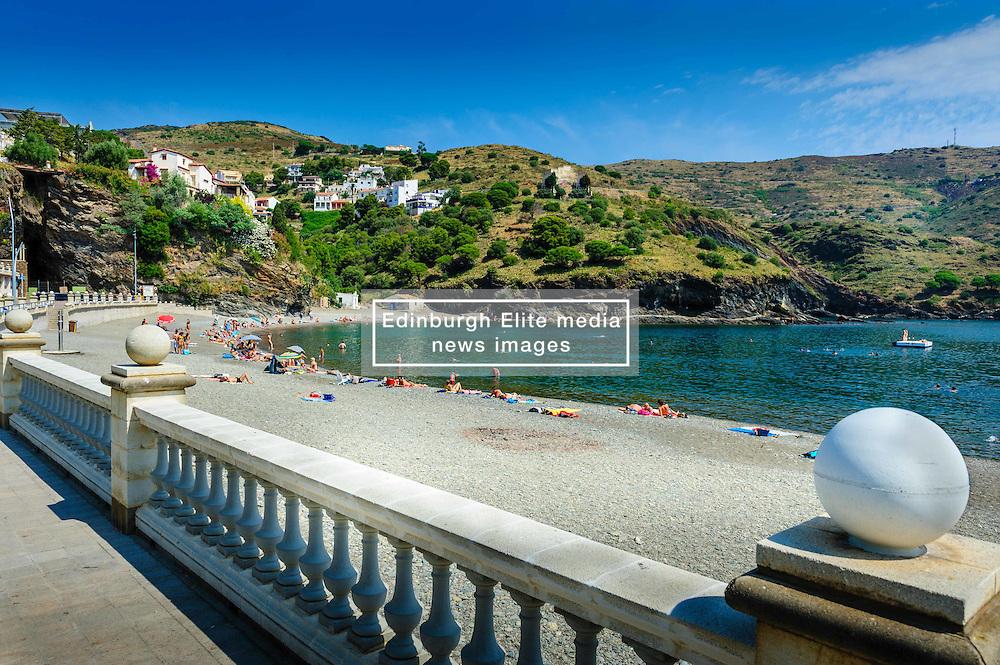 The beach and Mediterranean Sea at Portbou, Spain<br /> <br /> (c) Andrew Wilson | Edinburgh Elite media