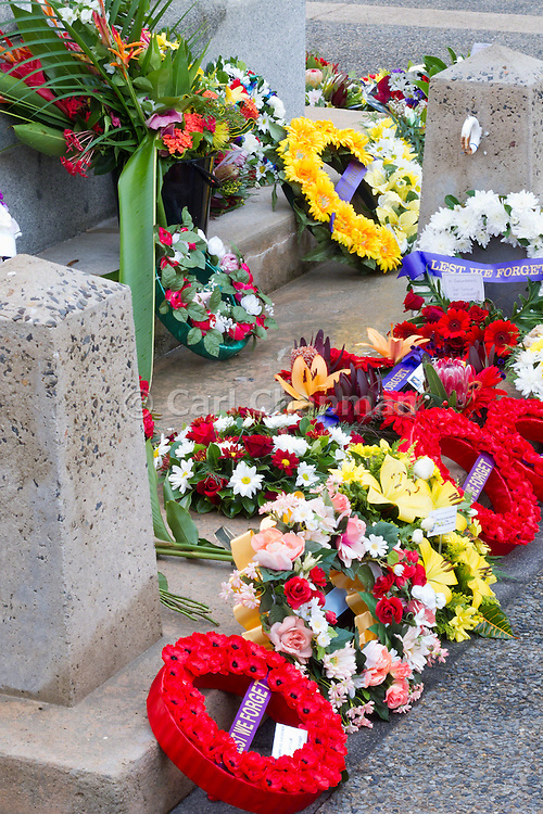 Wreaths of flowers laid at the 2010 ANZAC day parade service at Cenotaph Cairns Queensland <br /> <br /> Editions:- Open Edition Print / Stock Image