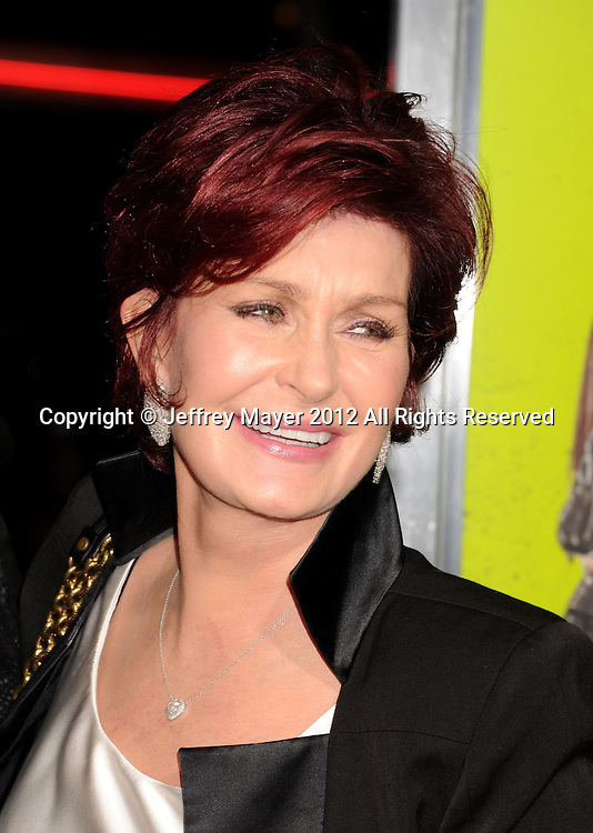 WESTWOOD, CA - OCTOBER 01: Sharon Osbourne arrives at the Los Angeles premiere of 'Seven Psychopaths' at Mann Bruin Theatre on October 1, 2012 in Westwood, California.
