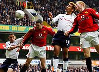 27/04/2003 Spurs v Man Utd, FA Barclaycard Premiership, White Hart Lane<br />John O Shea nearly scores with this header despite the attentions of Gus Poyet<br />Javier Garcia, Digitalsport