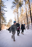 Students snowshoeing, sledding, and snowboarding at Shaw Outdoor Center on January 22, 2016.