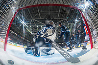 PENTICTON, CANADA - SEPTEMBER 9: Ethan Bear #74 of Edmonton Oilers scores a goal against Jamie Phillips #50 of Winnipeg Jets on September 9, 2017 at the South Okanagan Event Centre in Penticton, British Columbia, Canada.  (Photo by Marissa Baecker/Shoot the Breeze)  *** Local Caption ***